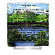 Twenty-third Psalm And Twin Ponds Shower Curtain