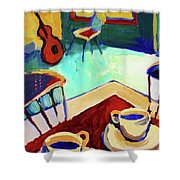 Twilight Coffee Cafe Shower Curtain