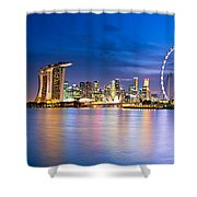 Twilight In Singapore Shower Curtain by Ulrich Schade