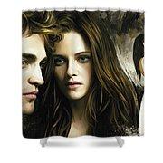 Twilight  Kristen Stewart And Robert Pattinson Artwork 1 Shower Curtain
