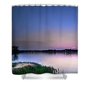 Twilight Moon Lake Pink N Blue Shower Curtain