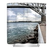 Twin Bridges Over Blue Water Shower Curtain