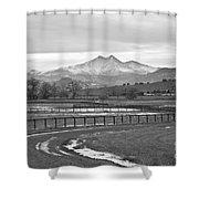 Twin Peaks Mt Meeker And Longs Peak Bw Country Shower Curtain