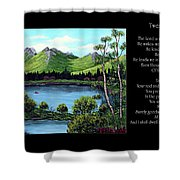 Twin Ponds And 23 Psalm On Black Horizontal Shower Curtain