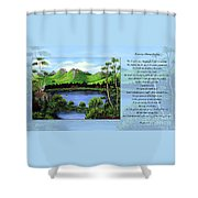 Twin Ponds And 23 Psalm On Blue Horizontal Shower Curtain