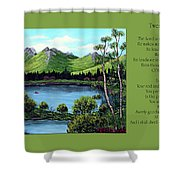 Twin Ponds And 23 Psalm On Green Horizontal Shower Curtain