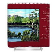 Twin Ponds And 23 Psalm On Red Horizontal  Shower Curtain