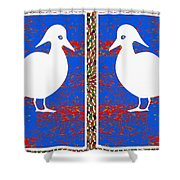 Twin Souls Love Birds Snow White Color Shower Curtain