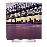 Twins Bridge Over A River, Crescent Shower Curtain