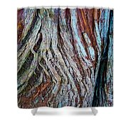 Twisted Colourful Wood Shower Curtain