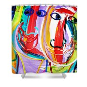 Two Abstract Faces Shower Curtain