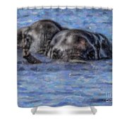 Two African Elephants Swimming In The Chobe River Shower Curtain
