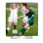 Two Against One Expressionist Soccer Battle  Shower Curtain