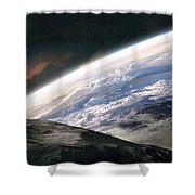 Two Astronauts Exploring A Moon Shower Curtain