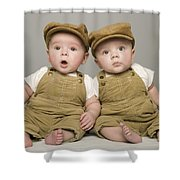 Two Babies In Matching Hat And Overalls Shower Curtain
