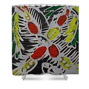 Two Beautiful Painted Palm Tree With Keg. Shower Curtain