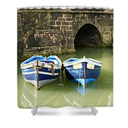 Two Blue Fishing Boats Shower Curtain