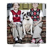 Two Boys And Their Dog Shower Curtain