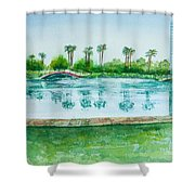 Two Bridges At Rainbow Lagoon Shower Curtain
