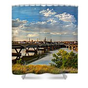 Two Bridges Shower Curtain