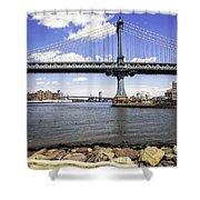 Two Bridges View - Manhattan Shower Curtain