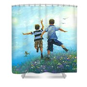 Two Brothers Leaping Shower Curtain