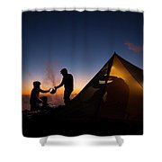 Two Campers Preparing Shower Curtain