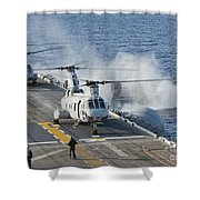 Two Ch-46e Sea Knight Helicopters Shower Curtain