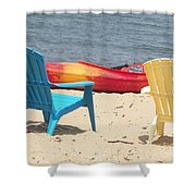 Two Chairs And A Boat Shower Curtain