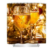 Two Champagne Glasses Ready To Bring In The New Year Shower Curtain