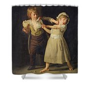 Two Children Fighting Over A Piece Of Bread Shower Curtain