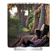 Two Climbers Sitting On Crash Pads Shower Curtain