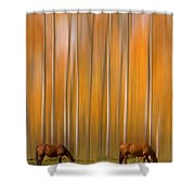 Two Colorado High Country Mystic Autumn Horses Shower Curtain