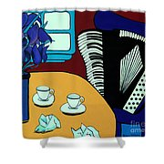 Two Cups One Accordian Shower Curtain