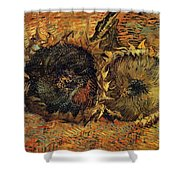 Two Cutted Sunflowers Shower Curtain