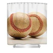 Two Dirty Baseballs Shower Curtain by Darren Greenwood