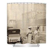 Two Edwardian Ladies Crossing A Cobbled Street Shower Curtain