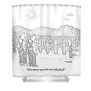 Two Farmers Stand By A Tractor Shower Curtain
