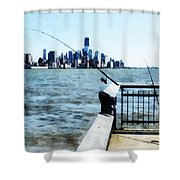 Two Fishing Poles Shower Curtain