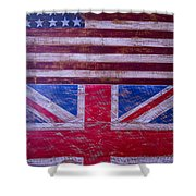 Two Flags American And British Shower Curtain