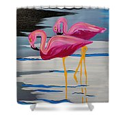 Two Flamingo's In Acrylic Shower Curtain