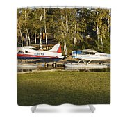 Two Float Planes On Moosehead Lake Near Greenville Maine  Shower Curtain