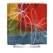 Two Flowers Shower Curtain by Linda Woods