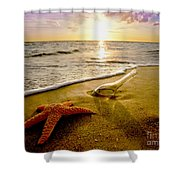 Two Friends On The Beach Shower Curtain