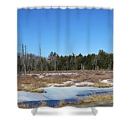 Two Geese Flying Shower Curtain