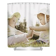 Two Girls Sit Together Shower Curtain