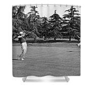 Two Golfers Body English Shower Curtain