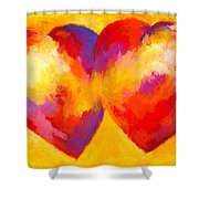 Two Hearts Beat As One Shower Curtain