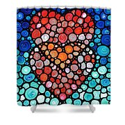 Two Hearts - Mosaic Art By Sharon Cummings Shower Curtain