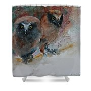 Two Hoots Shower Curtain